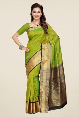Ishin Green Paisley Print Tana Silk Saree