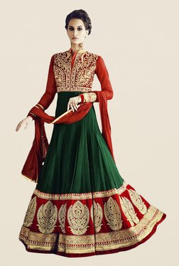 Anbazaar Green & Red Embroidered Georgette Dress Material