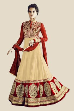 Anbazaar Cream & Red Embroidered Georgette Dress Material