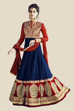 Anbazaar Navy & Red Embroidered Georgette Dress Material