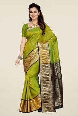 Ishin Green Printed Tana Silk Saree
