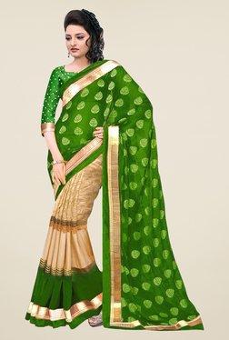 Ishin Beige & Green Printed Bhagalpuri Silk Saree