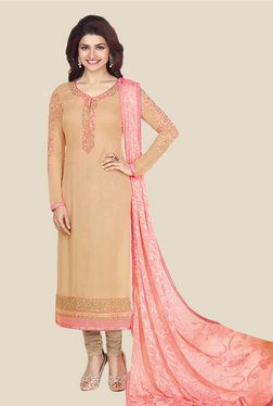 Anbazaar Beige Embroidered Georgette Dress Material