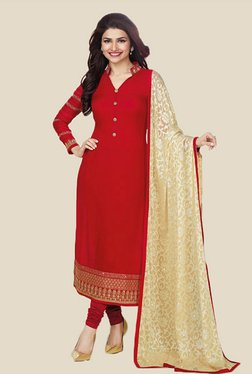 Anbazaar Red Embroidered Georgette Dress Material