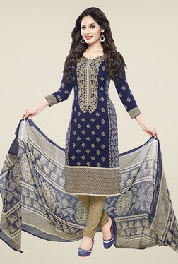 Ishin Blue & Beige Printed Unstitched Dress Material