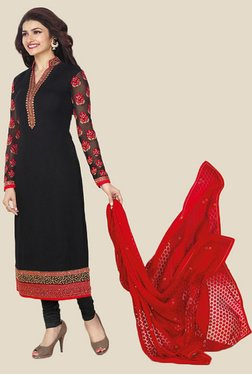 Anbazaar Black Embroidered Georgette Dress Material