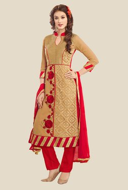 Anbazaar Beige & Red Embroidered Georgette Dress Material
