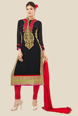 Anbazaar Black & Red Embroidered Georgette Dress Material