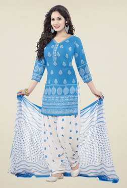 Ishin Blue & White Printed Unstitched Dress Material - Mp000000000672874