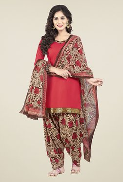 Ishin Red & Beige Printed Unstitched Dress Material