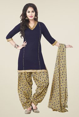Ishin Blue & Beige Printed Unstitched Dress Material - Mp000000000672899