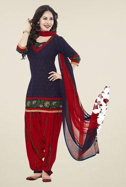 Ishin Blue & Red Printed Unstitched Dress Material