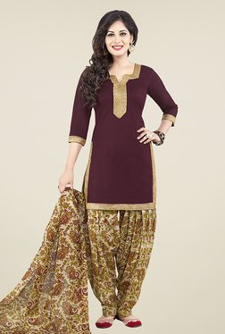 Ishin Purple & Beige Printed Unstitched Dress Material
