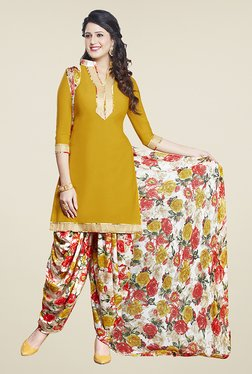 Ishin Mustard & White Printed Unstitched Dress Material