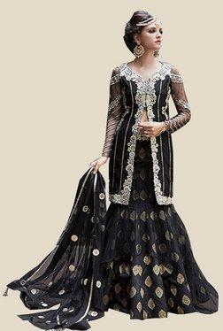 Anbazaar Black Net Satin Georgette Dress Material