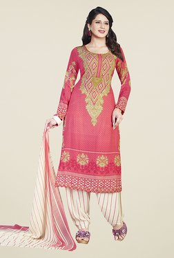 Ishin Pink & Beige Printed Unstitched Dress Material