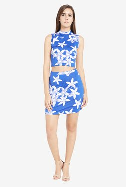 Globus Blue Floral Print Bodycon Skirt
