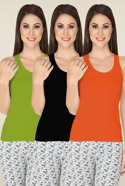 Soie Olive, Black & Rust Solid Camisole Set (Pack Of 3)