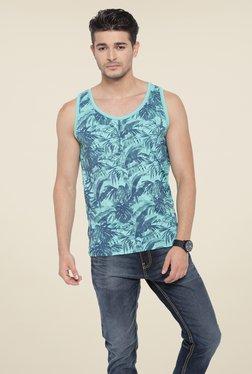 Cult Fiction Blue Tropical Print T Shirt