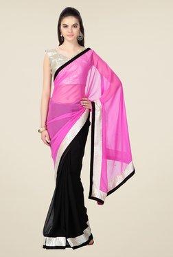 Janasya Black & Pink Solid Chiffon Saree