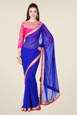 Janasya Blue Solid Chiffon Saree