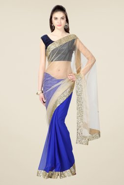 Janasya Blue & Beige Solid Chiffon And Net Saree