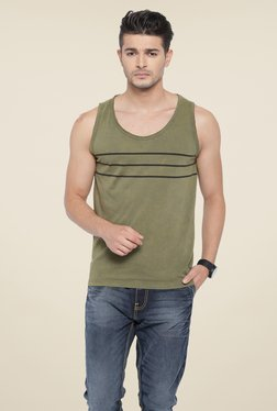Cult Fiction Olive Striped T Shirt