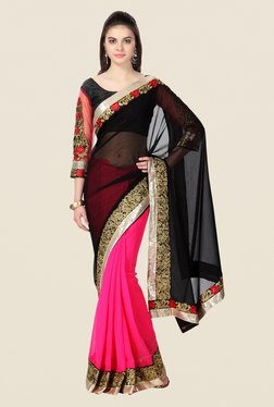 Janasya Pink & Black Embroidered Chiffon And Net Saree
