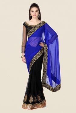 Janasya Black & Blue Embroidered Chiffon Saree