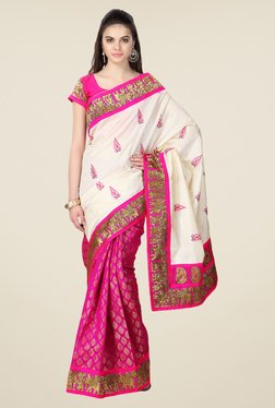 Janasya Pink & Cream Printed Cotton And Brasso Saree