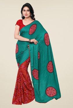 Janasya Red & Teal Bandhani Print Crepe Saree