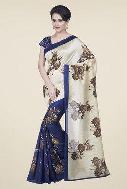 Janasya Navy & Beige Floral Print Bhagalpuri Silk Saree