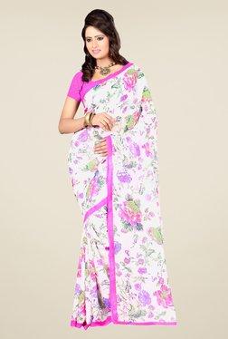 Janasya White & Purple Floral Print Georgette Saree
