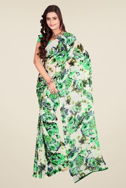 Janasya Off White & Green Floral Print Georgette Saree