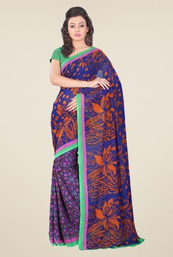 Janasya Purple & Blue Printed Georgette Saree