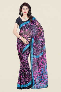 Janasya Black & Pink Printed Georgette Saree