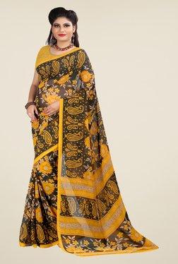 Janasya Brown & Mustard Printed Georgette Saree