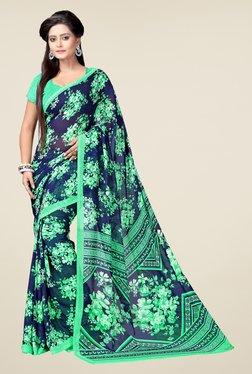 Janasya Navy & Green Floral Print Georgette Saree