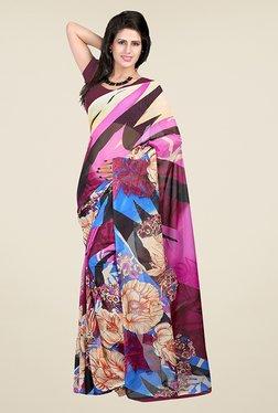 Janasya Multicolor Floral Print Georgette Saree