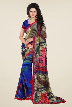 Janasya Blue & Beige Printed Georgette Saree