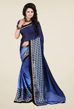 Janasya Blue & Navy Printed Satin & Chiffon Saree