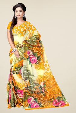 Janasya Yellow Floral Print Georgette Saree