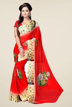 Janasya Red & Beige Printed Georgette Saree
