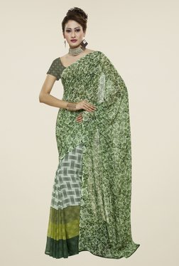 Janasya Grey & Green Printed Georgette Saree