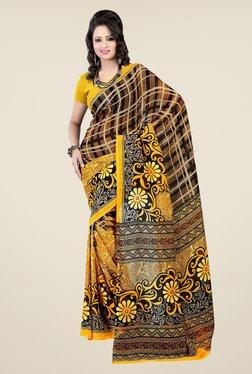 Janasya Yellow & Brown Printed Georgette Saree