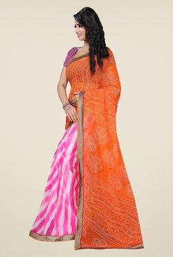 Janasya Pink & Orange Bandhani Print Chiffon Saree