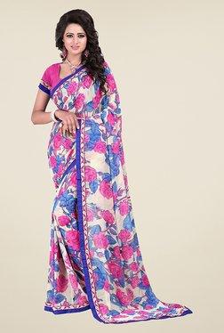 Janasya Pink & White Floral Print Georgette Saree