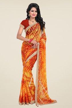 Janasya Yellow & Orange Printed Chiffon Saree