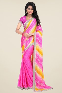 Janasya Pink Printed Satin & Chiffon Saree