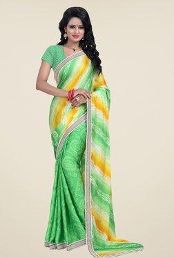 Janasya Green Bandhani Print Satin & Chiffon Saree